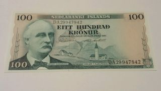 1961 Iceland 100 Kronur Sedlabanki Islands Vf Uncirculated photo