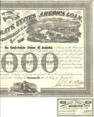 1863 Civil War,  $1000 Confederate Bond,  W/1 - $40 Coupon,  Rarity - 3 Ball 201 photo