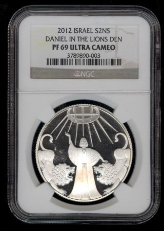 2012 Israel Daniel & Lions Den Proof Silver 2 Nis Coin Ngc Pf69 Ultra Cameo photo
