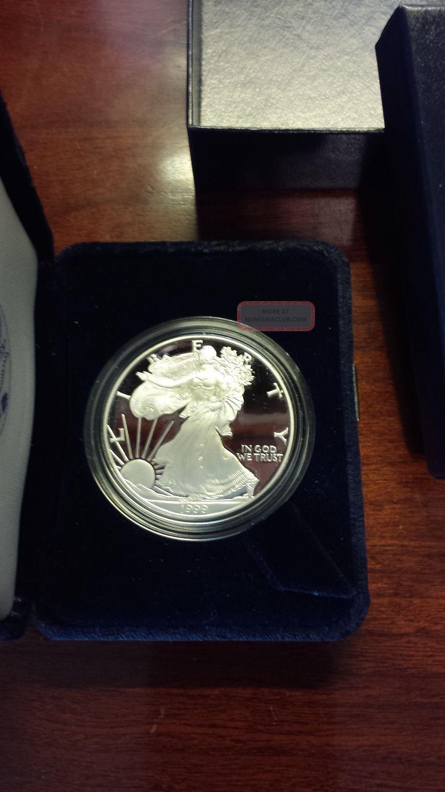 1999 1 American Eagle Silver Bullion 1oz Silver Coin W Box
