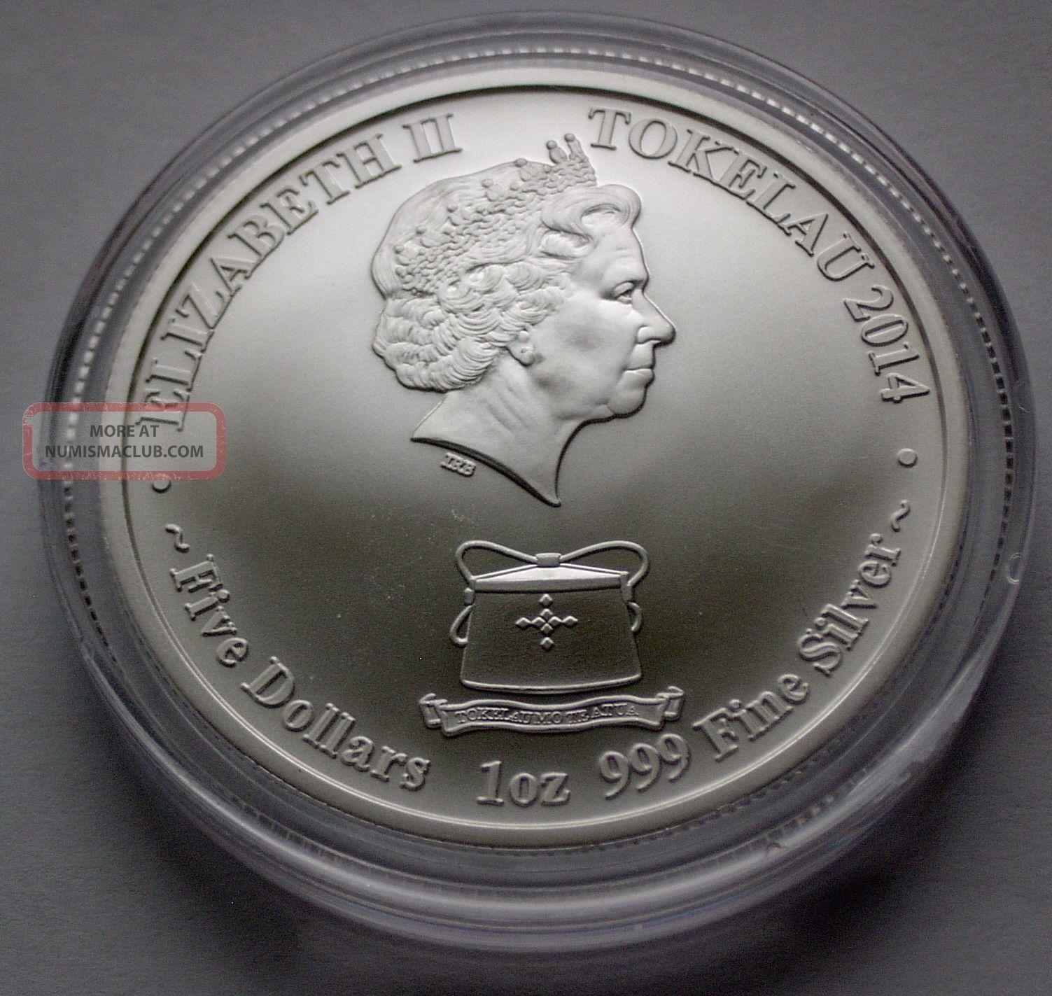 2014 Tokelau Lunar Horse 24 Ct Gold Gilded $5 Coin Rare Max 1, 000