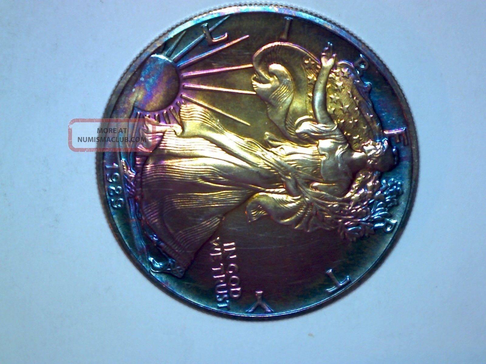 1989 1 Troy Oz Silver American Eagle 0 999 Fine Rainbow