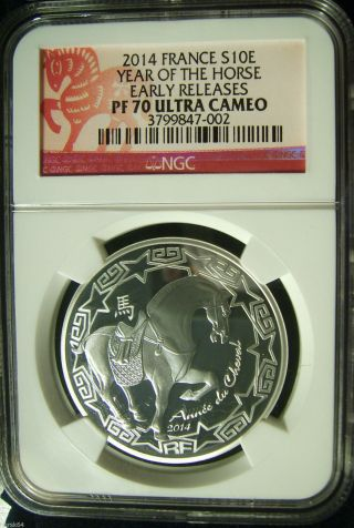 2014 S10e France 10€ Silver Year Of The Horse - Ngc Pf70ucam Er - Pop.  47 photo