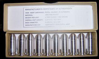 Box Of 10 - 1 Oz.  Silver Bullet Bullion -.  45 Acp.  999 10ea 1oz Coa/box photo
