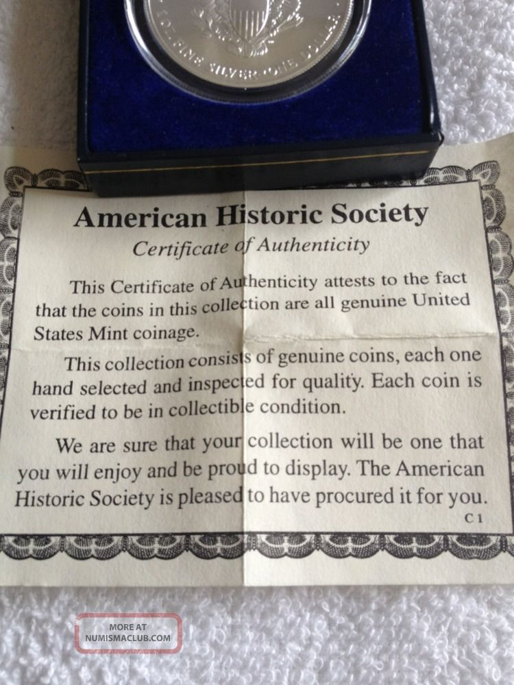 1999 American Eagle Silver Dollar With Certificate Of