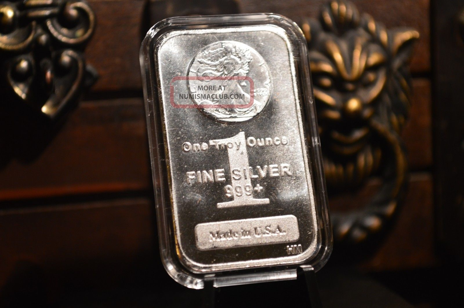 1 Oz Silver Bar 999 Fine Silver Walking Liberty Design In