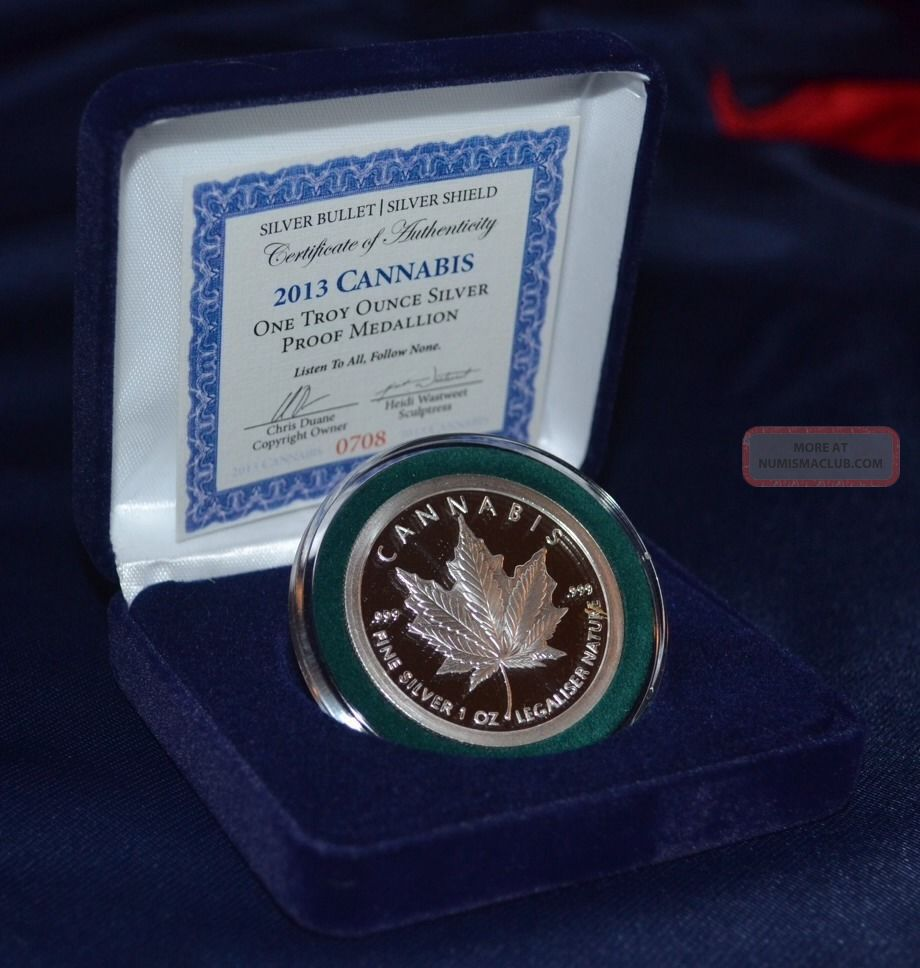 2013 Sbss Silver Bullet Shield Quot Cannabis Quot Proof 1 Oz