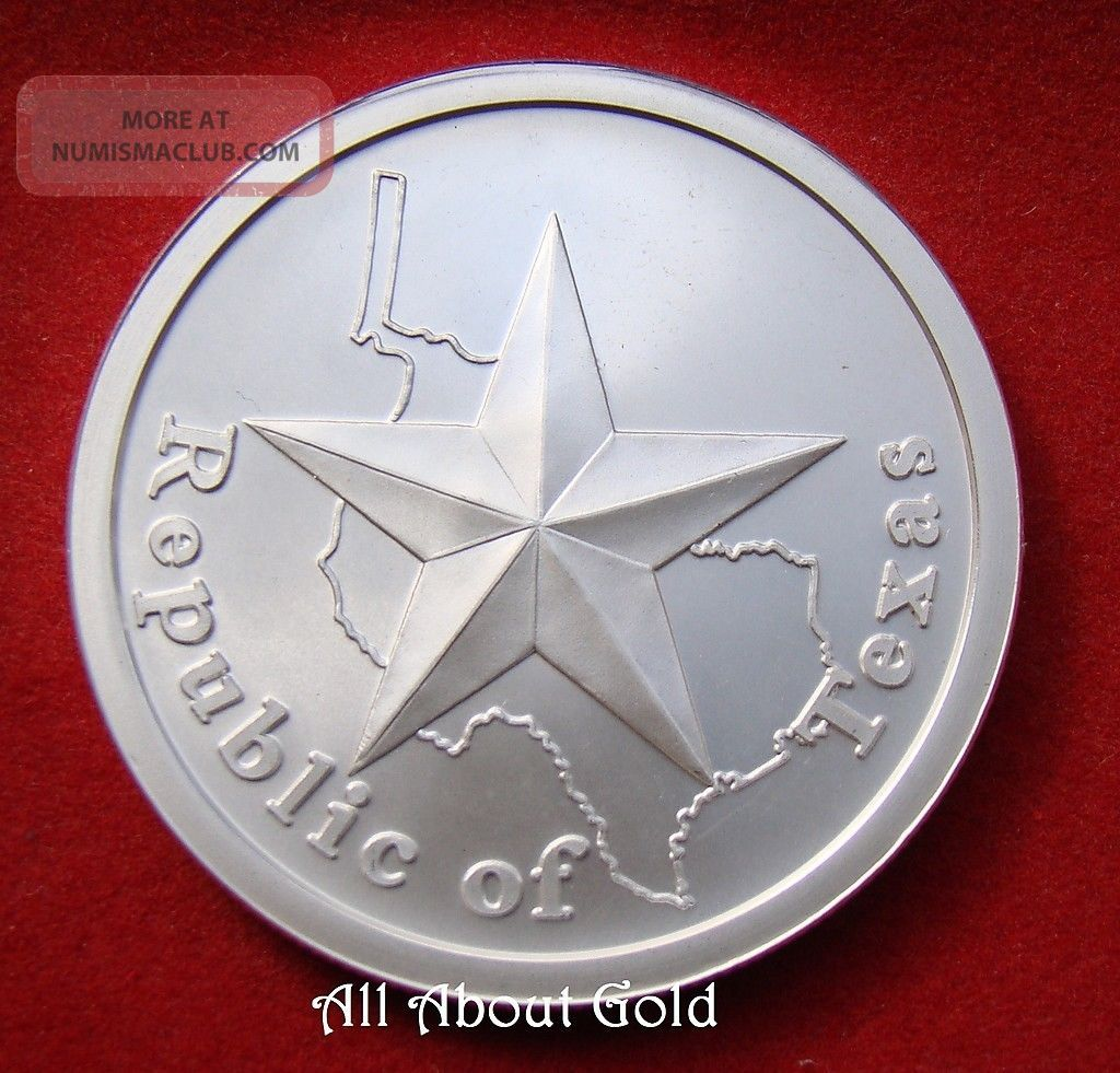 Solid Silver Round 1 Troy Oz Republic Of Texas Lone Star