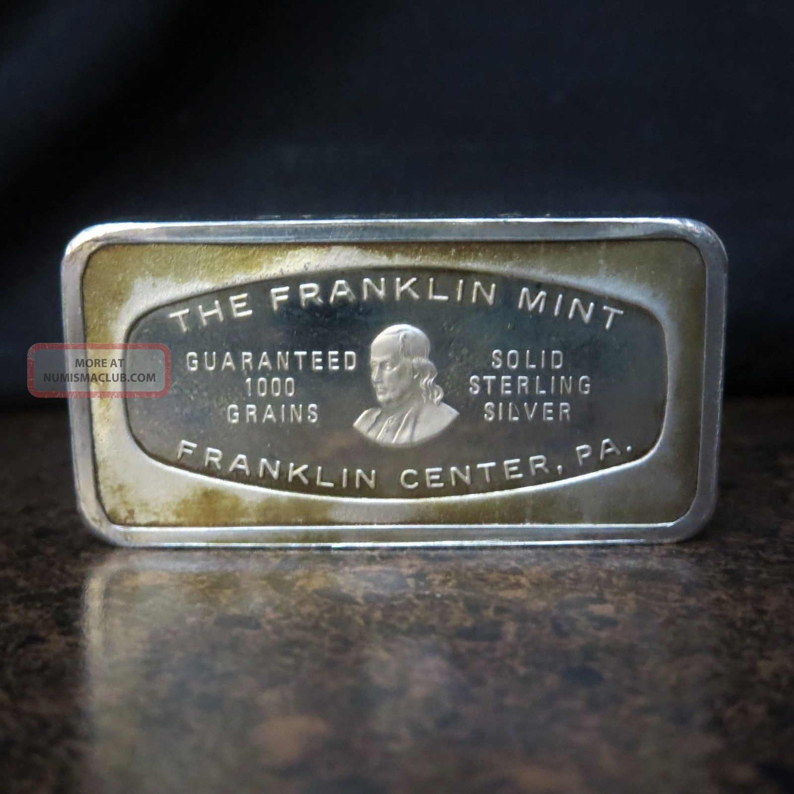 Imperial Bank Solid Sterling Silver Bar Franklin Issued