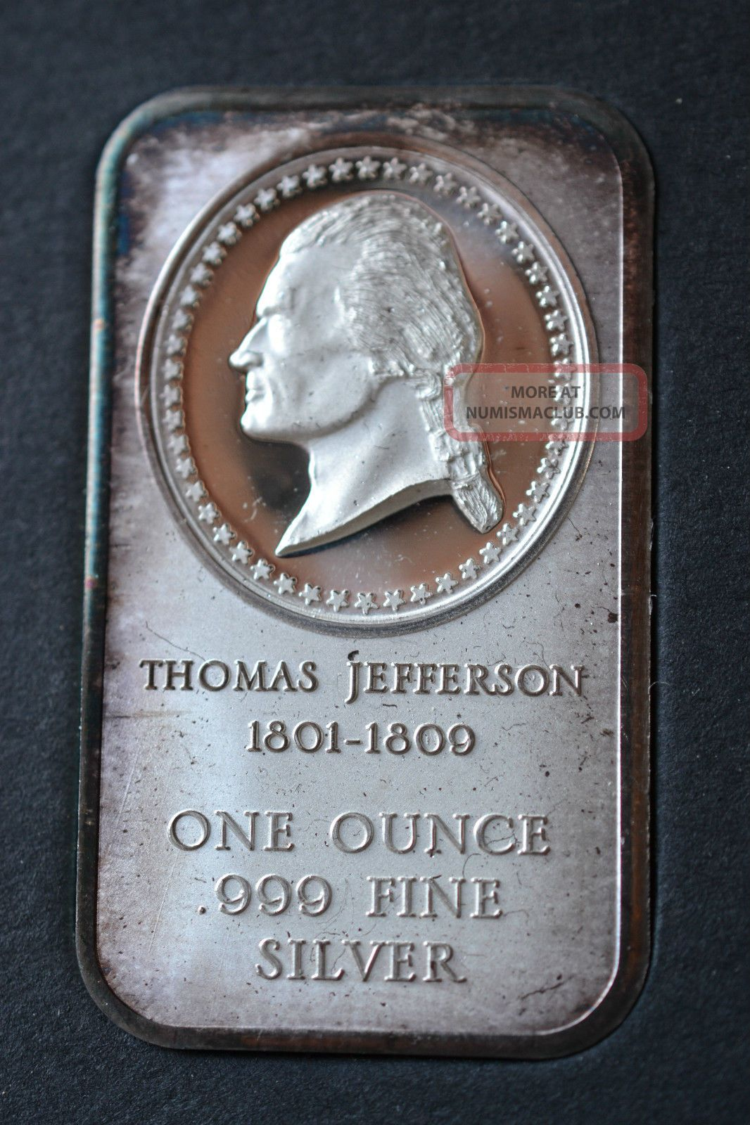1801 1809 Thomas Jefferson 1 Ounce 999 Fine Silver Art
