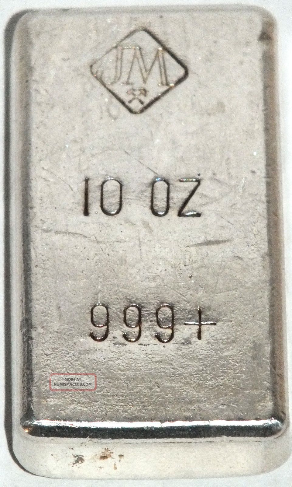 1st Gen Very Scarce Rare Johnson Matthey Pour 10 Troy Oz
