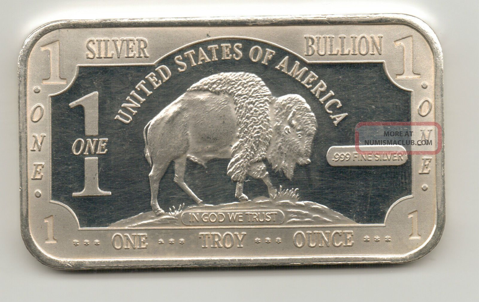 Buffalo Dollar Design Silver Bar 1 Troy Oz 999 Fine
