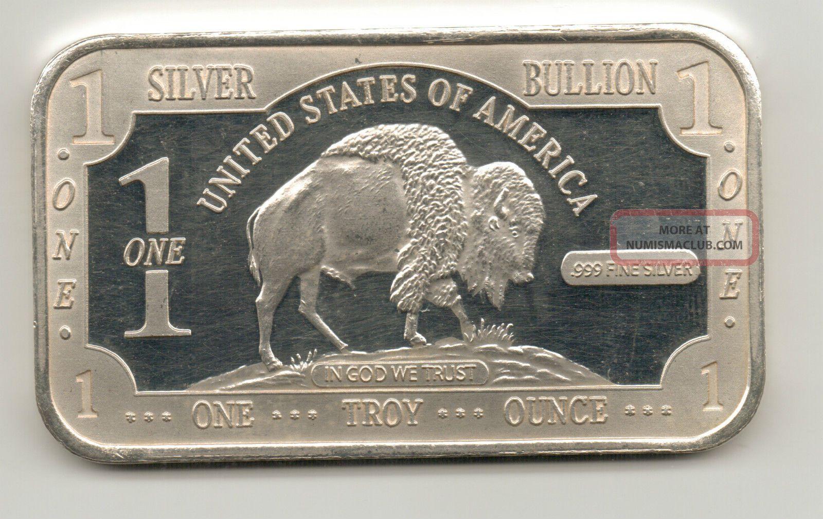 Buffalo Dollar Design Silver Bar 1 Troy Oz 999 Fine