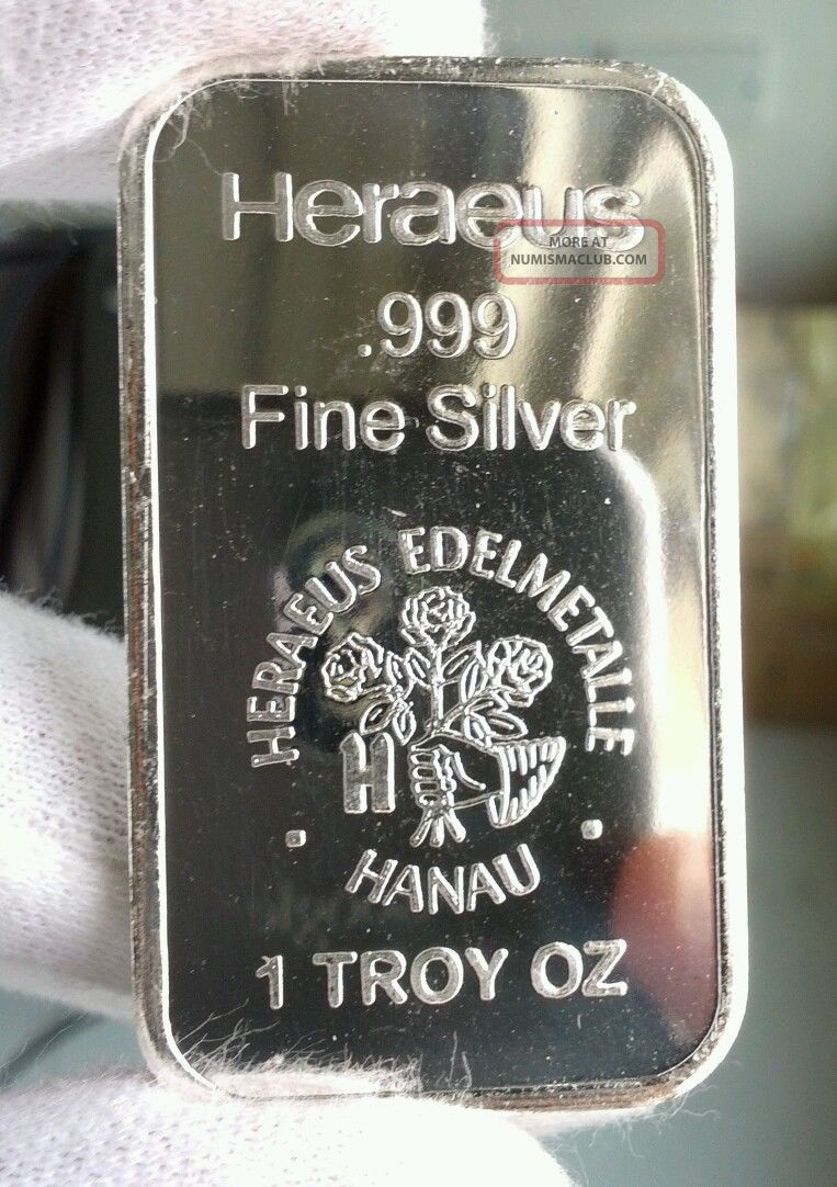 2013 Heraeus 1 Oz 999 Silver Art Bar Germany Rose Design Bu