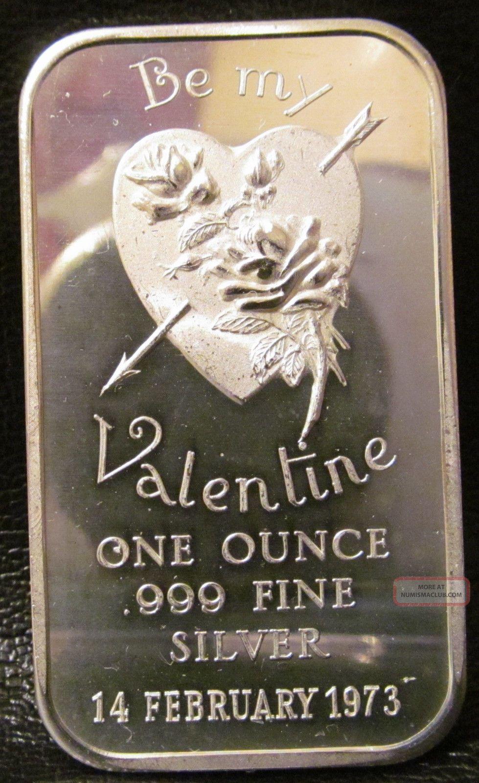 1973 Valentine 1 Troy Oz 999 Fine Silver Bullion Bar