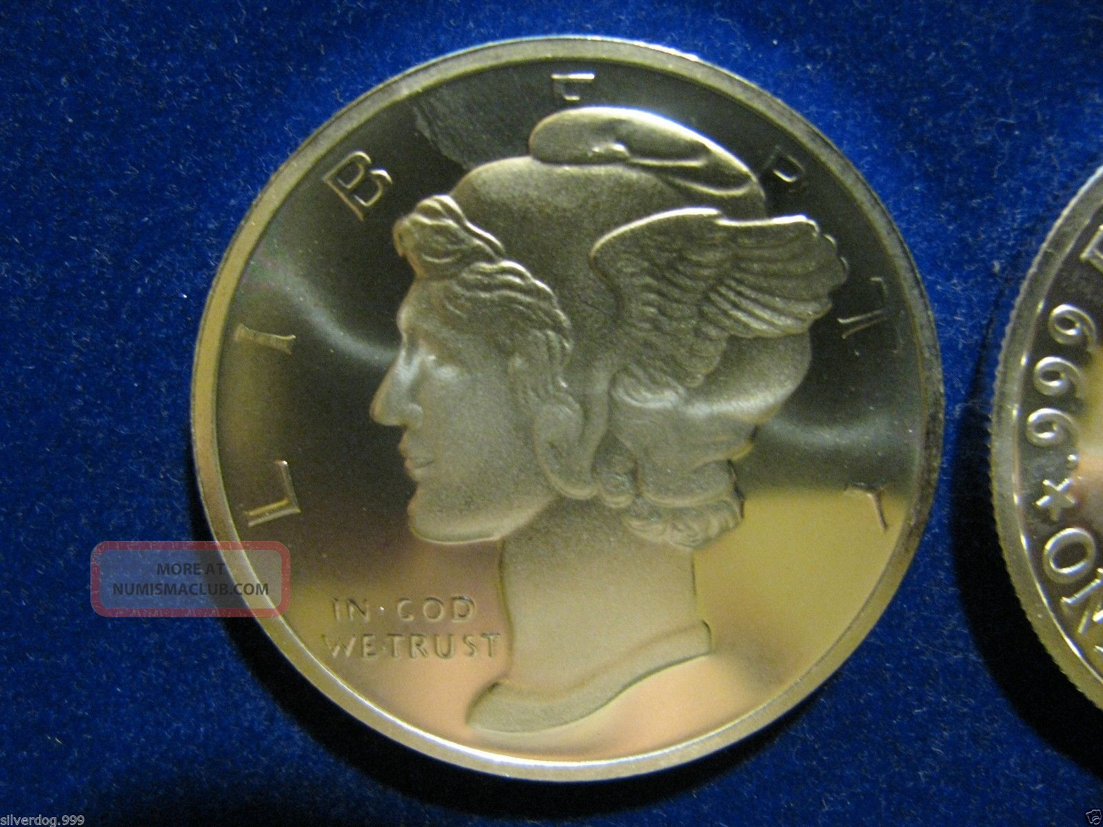 Silver Round 1 Troy Oz 999 Fine Winged Liberty Design