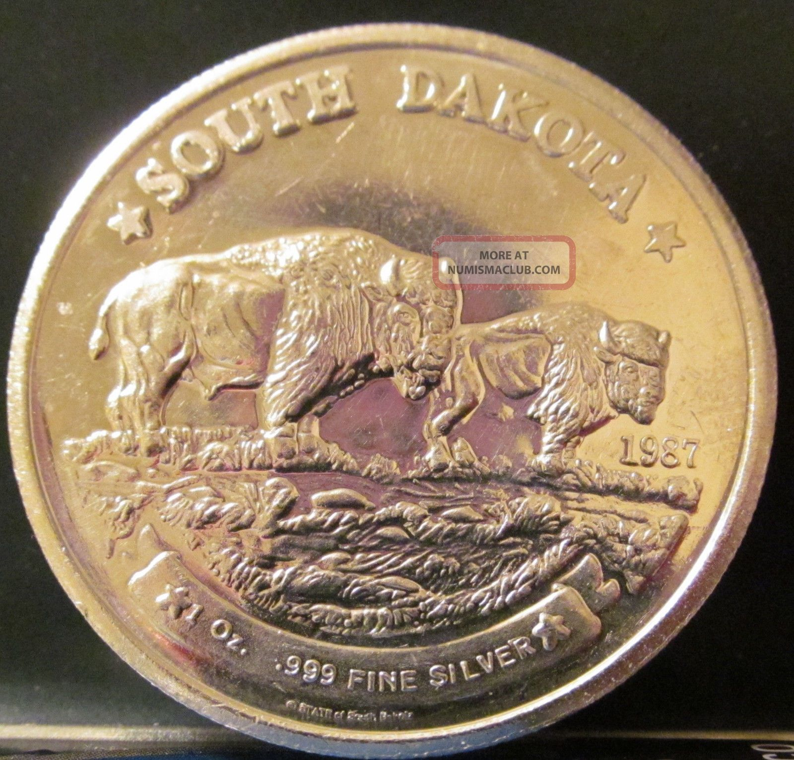 1987 One Troy Ounce Silver South Dakota Round Coin 999