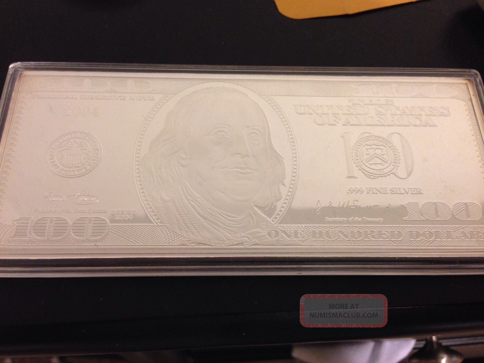 2004 100 Dollar Bill Benjamin Franklin 4oz 999 Silver Art