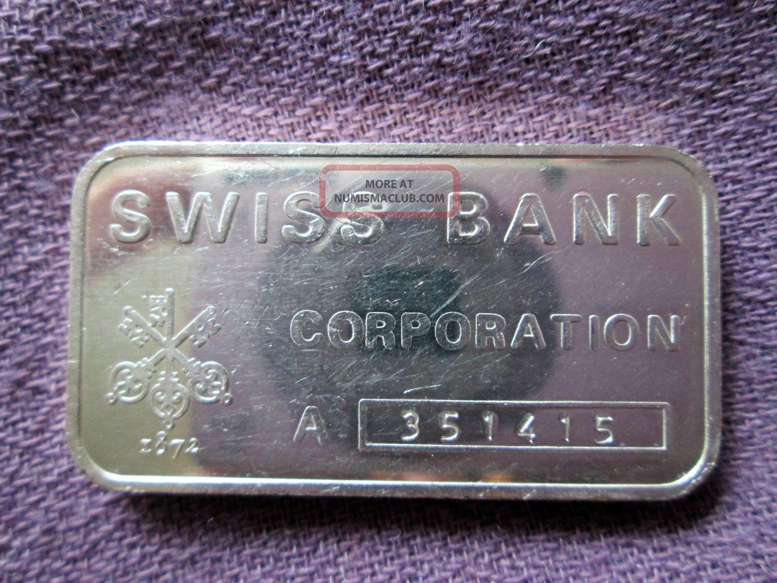 Swiss Bank Corp Rare Ed 1 Troy Oz 999 Fine Silver Art