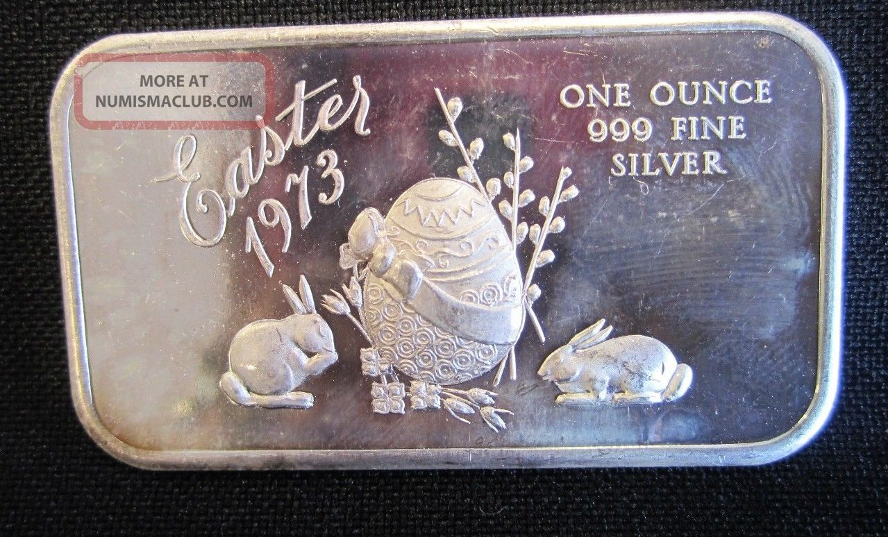 999 Fine Pure Silver Bar Ingot Bullion 1973 Easter Bunny