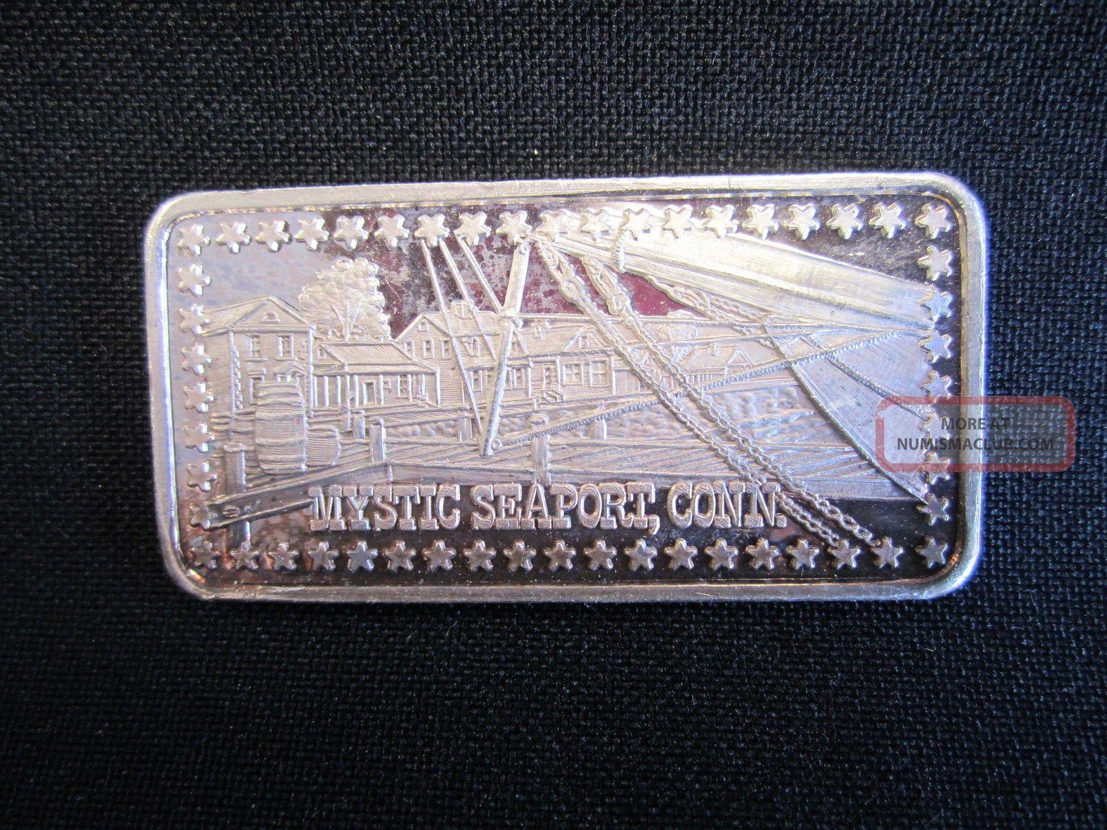 999 Fine Pure Silver Bar Ingot Bullion Mystic Seaport