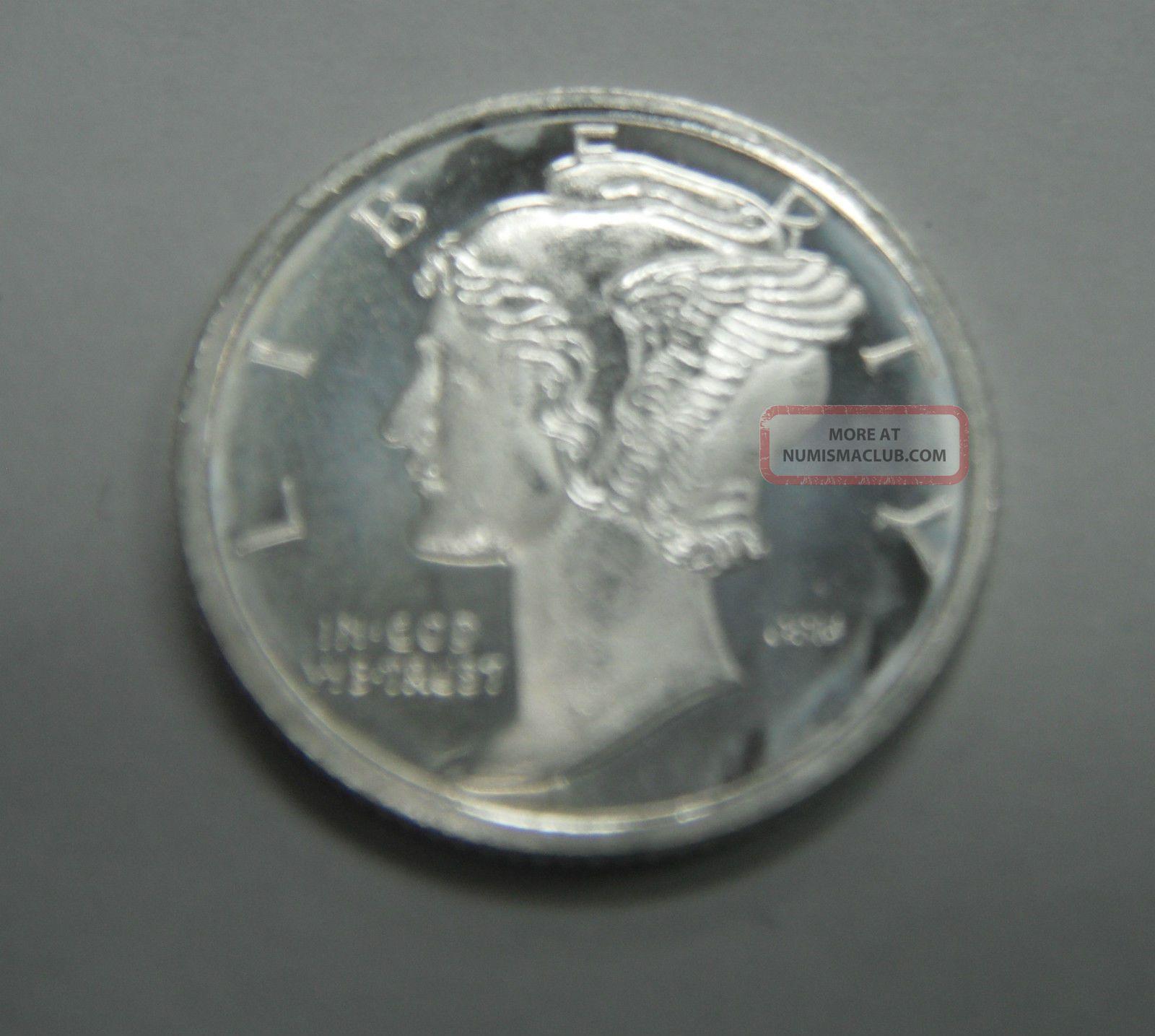 1 10th Troy Ounce 999 Fine Silver Mercury Dime Silver