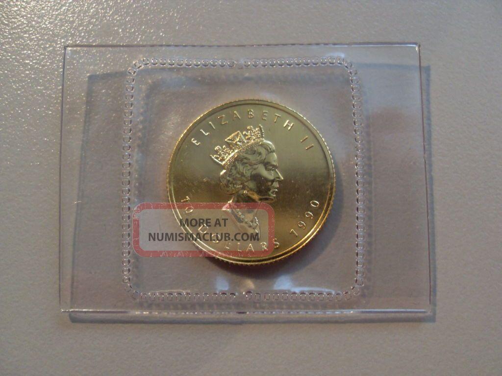 1990 Canada Maple Leaf 10 Dollar 1 4 Oz Or Pur 999 Fine Gold Coin Amp Pouch