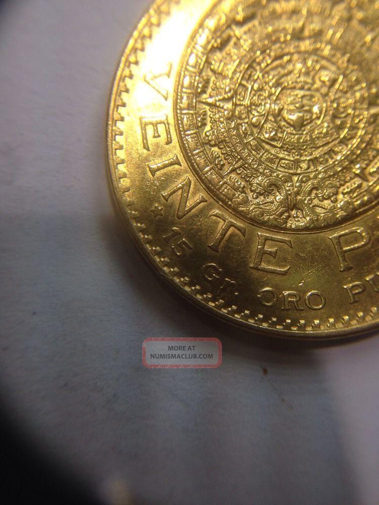 1919 Mexico 20 Pesos Gold Coin Veinte Pesos Estados Unidos