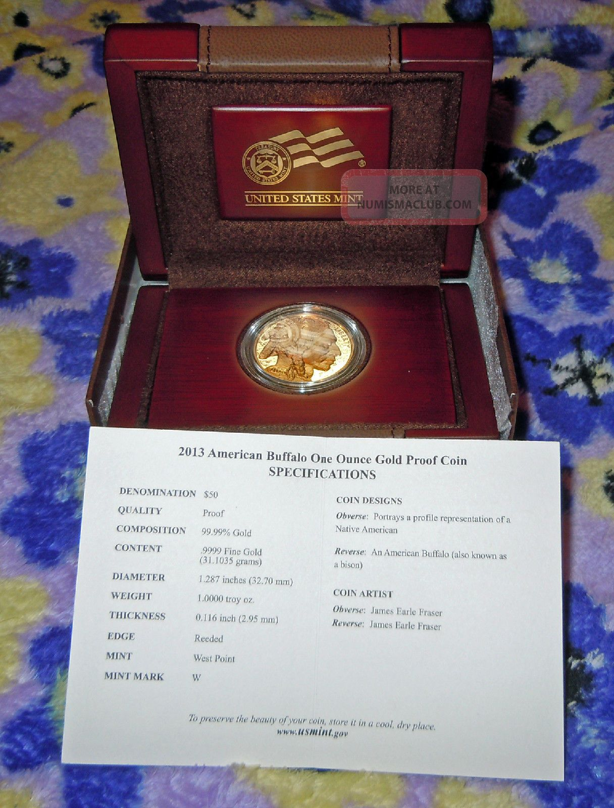 2013 W Collectible 50 1 Oz Proof Buffalo Gold Coin Includes Box Coa Low Mintage
