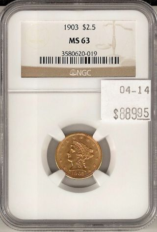 1903 $2.  5 Gold Piece Ms 63 Ngc Certified photo