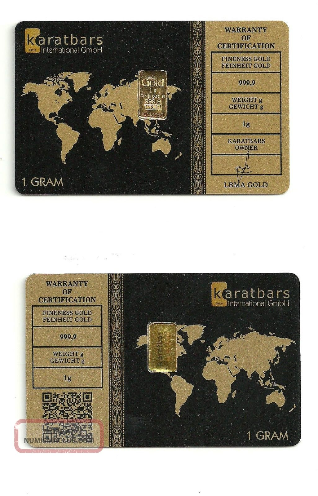 Karatbars Gold Bullion Bar 1gr