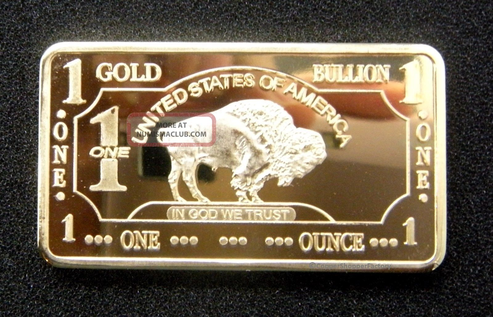Gold Bar 1 Oz American Buffalo 100 Mills 999 24k 1