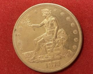 1875cc U.  S.  Trade Dollar.  Reverse 2 Details. photo