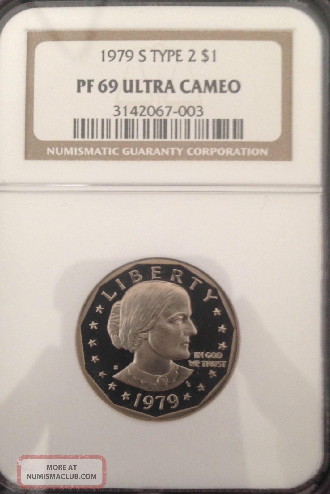 1979 S Proof Susan B Anthony Dollar Type 2 NGC PF 69 Ultra Cameo