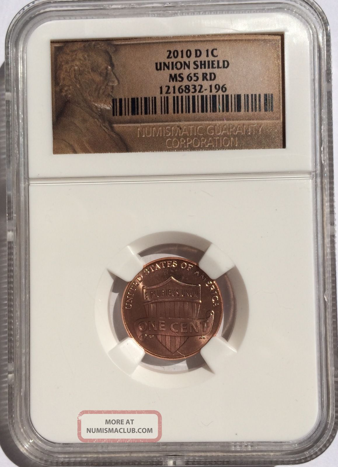 2010 D Lincoln Union Shield Cent Minst State Ms 65 Rd Red Penny Denver