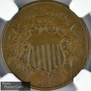 1864 Large Motto 2 Cents Ngc Ms - 63 Bn Uncirculated Brown Type Coin photo