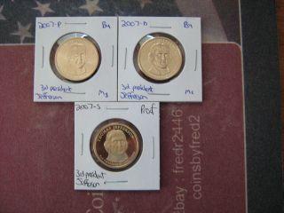 2007 - Pds 3rd President Thomas Jefferson Golden Dollars photo