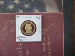 2007 - S 3rd President Thomas Jefferson Golden Dollar photo