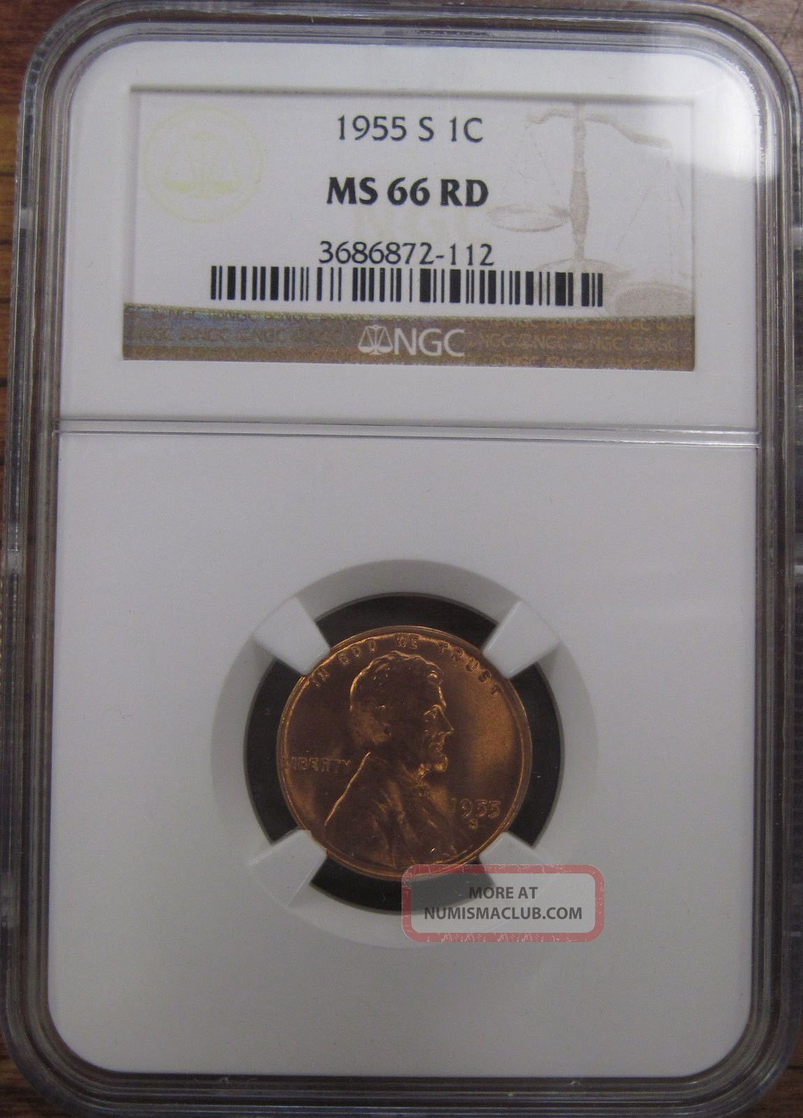 1955 S U S Lincoln Cent Wheat Penny Ngc Graded Ms66 Red Red Gem Coin