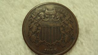 Coinhunters - 1865 Two Cent Piece - Very Fine,  Vf photo