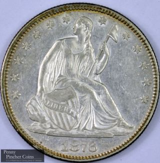 1876 Seated Liberty Half Dollar Almost Uncirculated High - Grade Lustrous Half photo