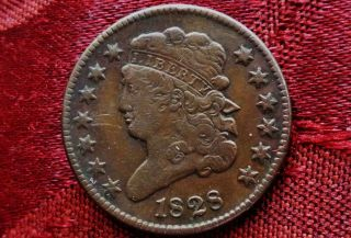1828 Classic Head Half Cent - Abt Extra Fine - 13 Stars (c - 3 Variety) Toning +++ photo