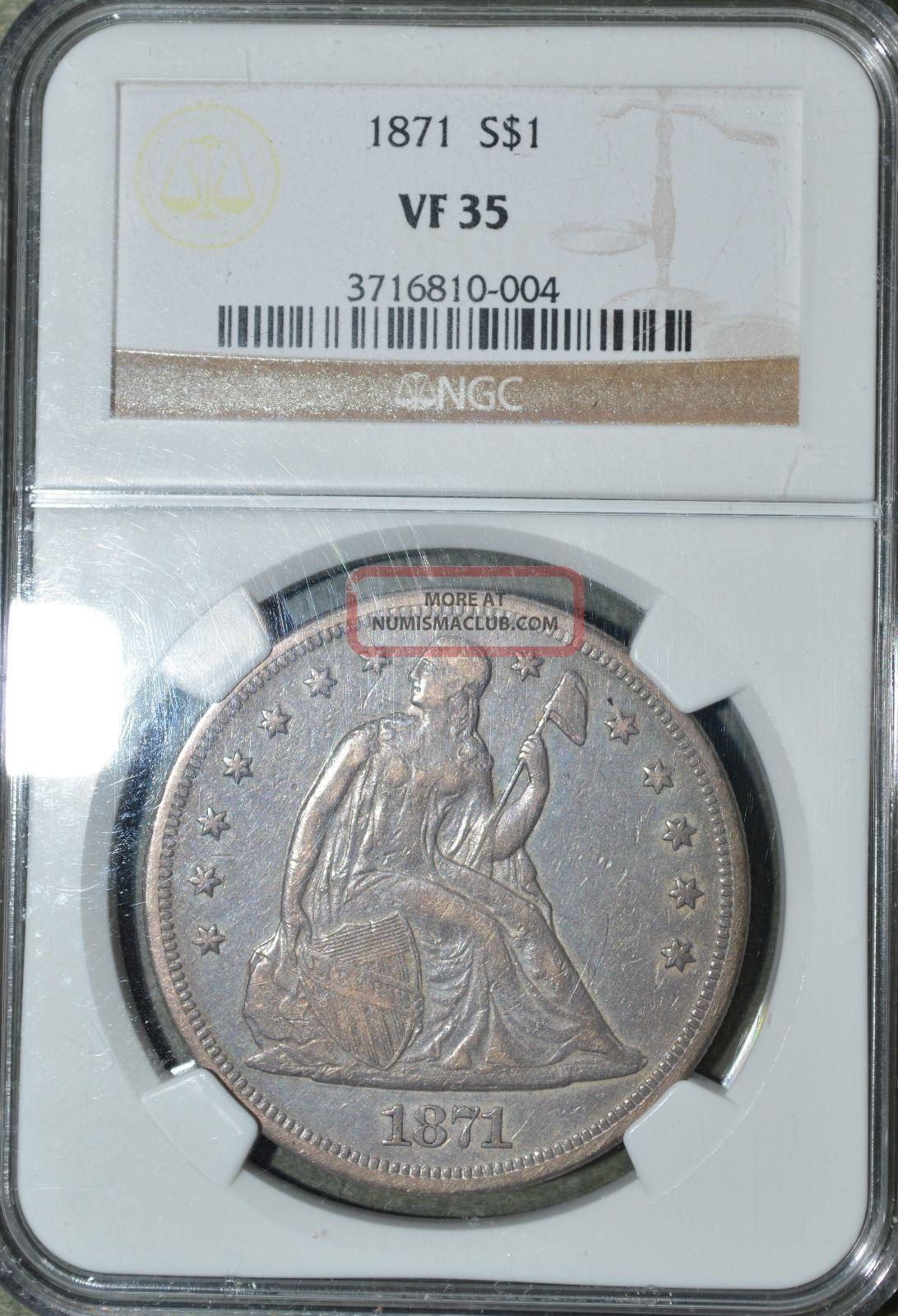 1871 $1 Liberty Seated Dollar Dollars photo