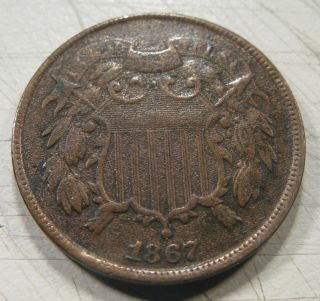 1867 2 Cent Piece Brown Circulated In Fine photo