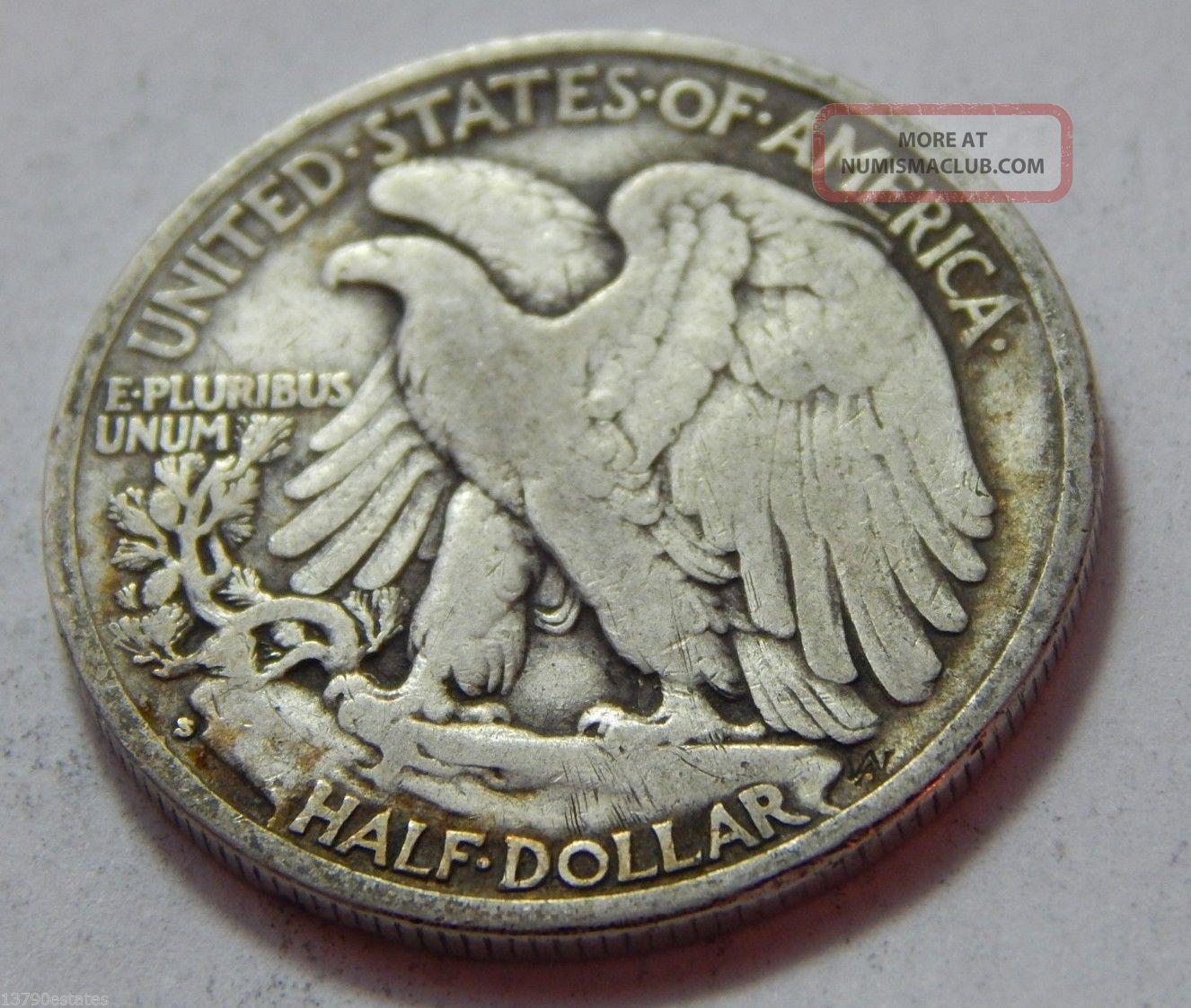 1936 S Walking Liberty Half Dollar Silver Coin