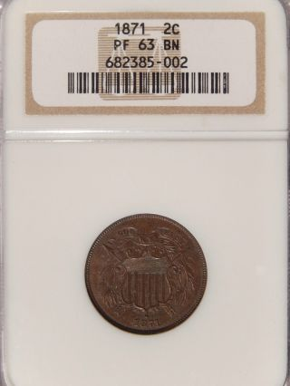 1871 2c Ngc Pr - 63 Bn Proof Two Cent Copper photo