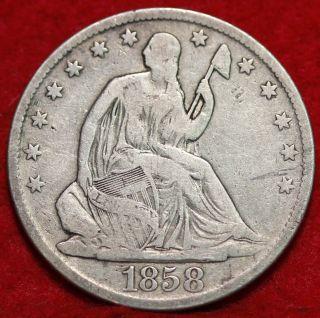 1858 - O Silver Seated Half Dollar S/h photo