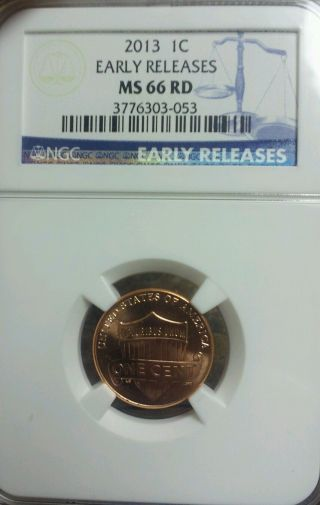 2013 Us Lincoln Cent Union Shield Ngc Ms66 Rd Early Releases Uncirculated photo