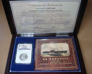 Ss Republic Shipwreck Treasure 1860 O Half Dollar Ngc Slabbed In Case & Dvd photo