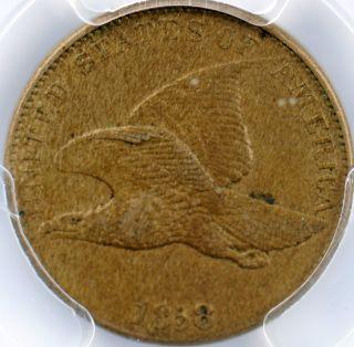 1858 Flying Eagle Cent - Large Letters - Au55 Pcgs Cac Verified photo